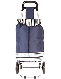 hby0030Azul Marino diseño de rayas dos ruedas carrito de la compra–carrito de estampado de resistente de plegable (Tamaño pequeño