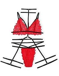clacce Erotische Dessous-Set Damen Reizwäsche Erotik Strapse Set Unterwäsche Sexy Spitze BH und Slip Strumpfband für Damen