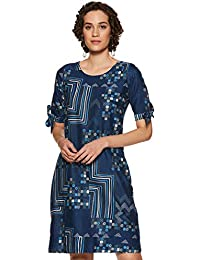 global desi Women's A-Line Knee-Long Dress (EC18G264DRCFTEALL_Teal_L)
