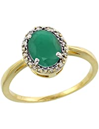 14ct Yellow Gold Natural HQ Emerald Ring Oval 8x6 mm Diamond Halo, sizes J - T