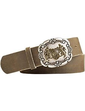 Vollrindleder Trachtengürtel mit Landeswappen Bayern Gürtelschnalle - Gürtelbreite 40mm - Farbe: hellbraun