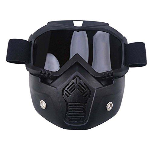 *Motorrad Brille POSSBAY Gesichtsmaske mit abnehmbaren Schutzbrille Dirtbike Off Road Racing Sonnenbrille*