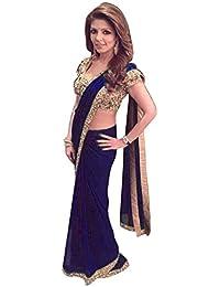 Swara Fashion Women's Georgette Thread Work Saree(SFPSN-119-C_Blue)