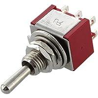 SODIAL(R) Mini interruptor de palanca DPDT ON-ON Dos posiciones Rojo 2A 250V 5A 120V