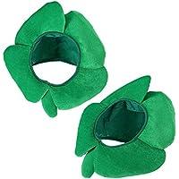 BESTOYARD Sombreros del Día de San Patricio de Cuatro Hojas Traje de Trébol Sombrero de Irlanda del Trébol de Terciopelo Irlanda Headgear Diadema 2 unids