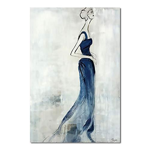 WSWWYEstilo nórdico Chica Minimalista Moderna Figura de Palo pósters Arte Acuarela Lienzo Cuadros para Sala de Estar Dormitorio decoración Pintura A 50x70cm Sin Marco