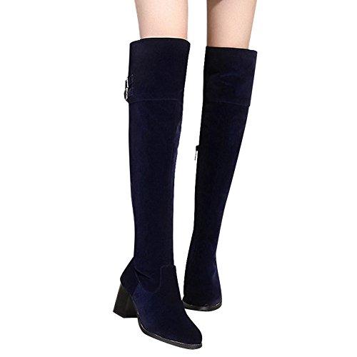 Mee Shoes Damen Reißverschluss chunky heels langschaft Stiefel Blau