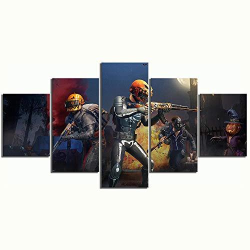 �lde Drucke Wohnkultur 5 Panel PUBG Halloween Haut Playerunknowns Schlachtfelder Spiel Wandkunst, Framed 40X60 40X80 40X100cm ()