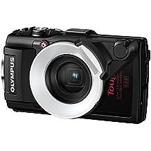 """Olympus - Cámara de fotos subacuática de 16 Mp (pantalla de 3"""", zoom óptico 4x, estabilizador digital, grabación de video Full HD, WiFi, GPS), negro - kit con luz TG-4 KIT y LG-1"""