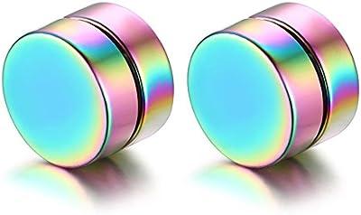 Flongo Pendientes redondos de iman, Non piercing acero inoxidable, Colores Aretes Studs 8mm, Pendientes Hiphop unisex/ hombre/ mujer