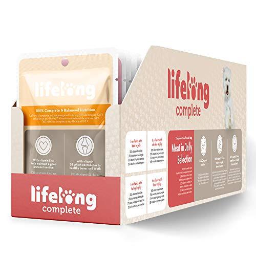 Marque Amazon- Lifelong Aliment complet pour chiens adultes- Sélection à la viande en gelée 2,4 kg (24 sachets x 100g)