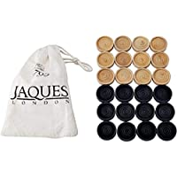 Jaques of London Superior Draughts Set In a Drawstring Bag - Quality Stack able Checkers Pieces for Playing With Your Draughts Set
