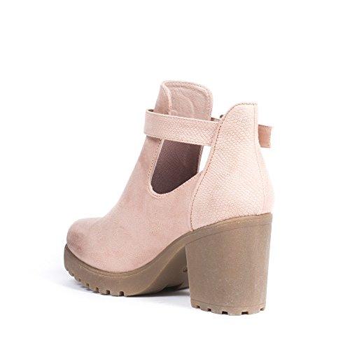 Ideal Shoes - Bottines ajourées bi-matière avec talon épais et semelle crantée Mickaella Rose