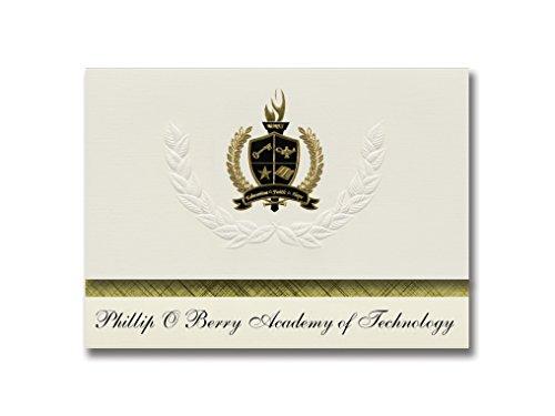 Signature Ankündigungen Phillip O Berry Akademie der Technologie (Charlotte, NC) Graduation Ankündigungen, Presidential Elite Pack 25mit Gold & Schwarz Metallic Folie Dichtung - Karte Nc Charlotte