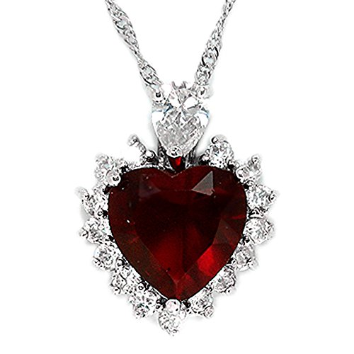 Red heart necklace amazon rizilia ocean heart pendant with 18 chain heart cut gemstones cz red ruby in 18k white gold plated simple modern elegance mozeypictures Choice Image