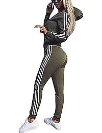9b95bcabf844 Cindeyar Tuta da Donna Set di 2 Pezzi Gymsuit Tops+Pants Manica Lunga  Completo Sportivo