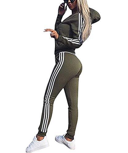Damen Trainingsanzug Streifen Jogginganzug Reißverschluss Kapuzenpullover und Lange Hose Fitness Casual Sportanzug-2 Piece Set (Armeegrün, S)