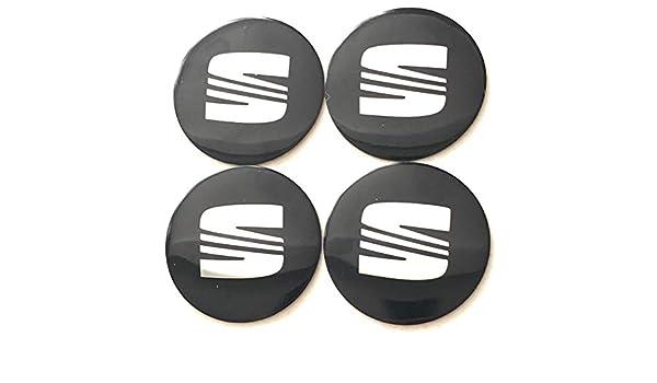 BRANDNEWZ SEAT SILVER BLACK EMBLEM WHEEL HUB CENTER CAP STICKERS BADGE WHEEL TRIM 56.5 MM DOME SET OF 4