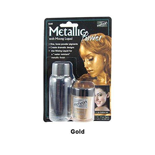 MyPartyShirt Gold Mehron Metallic Powder With Mixing Liquid