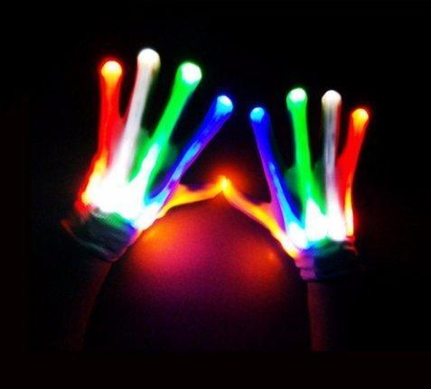 URGrace Ein Paar LED Farbe ändernde Beleuchtung Handschuhe Blinkende Skelett Halloween Bühne Stützen Blitz Handschuhe Für Feiertag Tanz Party Veranstaltungen zeigt Festliche (Clubbing Männer Halloween Kostüme)