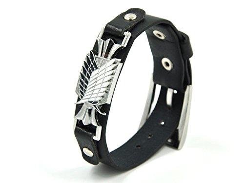 CoolChange Attack on Titan PU-Leder Armband mit Wappen des Aufklärungstrupp aus Metall
