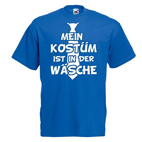T-Shirt MEIN KOSTÜM IST IN DER WÄSCHE mit Krawatte Karneval Fasching Verkleidung Royal (Druck Weiß) XL (Krawatten Blau Shirt)