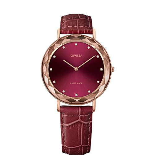 JOWISSA Women's Aura 39MM Burgundy Leather Band Quartz RED DIAL Watch J5.564.L