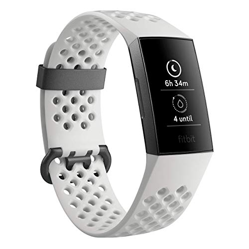 Fitbit Charge 3 Fitness Activity Tracker Special Edition (Graphite and White Silicone) with Offer on Accessory at amazon