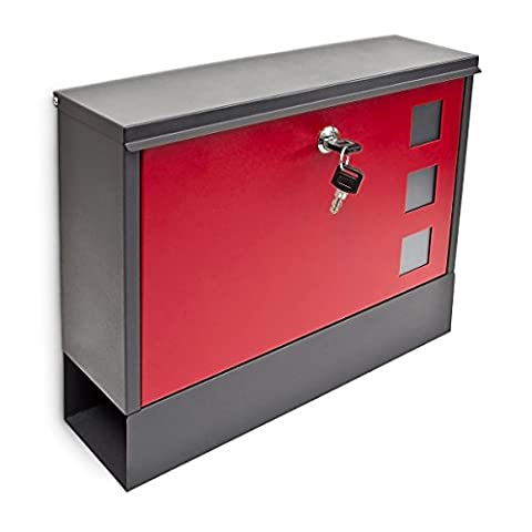 Relaxdays Modern Two Coloured Mailbox Letterbox Lockable with Two Keys and Newspaper Slot, Black-Red