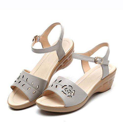 L@YC Femmes Sandales Pente avec La Bouche En Cuir De Poissons D'éTé Doux à La Fin De La Robe à Talons Hauts Grande Taille Des Chaussures Des Femmes Grey