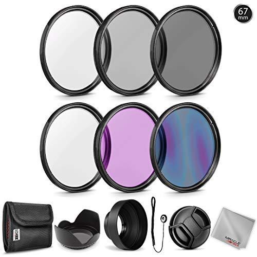 Zeikos Graufilter-Set (67 mm) (ND2 ND4 ND8), mehrfach beschichtetes UV-CPL-FLD Filterset, Tulpenblume, Gummi-Gegenlichtblende, Objektivdeckel und Objektivdeckelhalter mit Tasche und Mikrofasertuch -