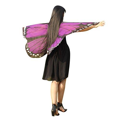 (YWLINK Chiffon Klassisch Jungen MäDchen Karneval Bohemien Schmetterling Print Schal Cosplay ZubehöR Erwachsener Eltern Kind Weihnachten Halloween FlüGel Umhang Pashmina (147 * 70CM,Erwachsener Lila))