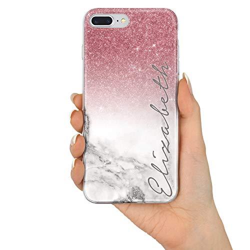 TULLUN Personalisietr Individuelle Champagne Rose Gold & Glitter Ombre Glitzereffekt Brauch Schutzhülle aus Hartplastik Handy Hülle für iPhone - Name V3 - für iPhone 7/8 V3 Glitter