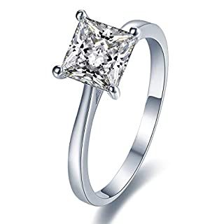 Stunning Sterling Silver Solitaire Engagement Ring With Diamond Look Cubic Zirconia (6mm diameter). Available in all sizes between G and Z+3 (S)