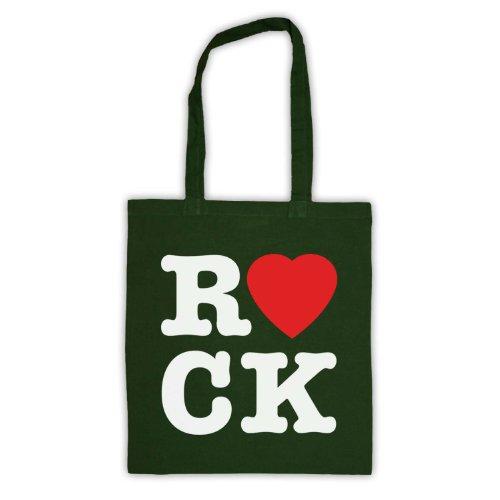 "Scritta in inglese ""I Love Rock'Borsa Verde scuro"