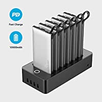 Powerology 6 in 1 Power Bank Station 10000mAh With Built-in Cable, Portable Power Bank and 1 Rapid Recharging Station Compatible iPhone Devices, Android Devices, Type C Charging Ports (White)