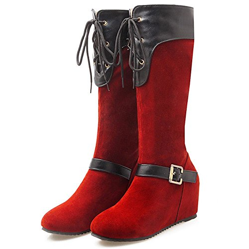 COOLCEPT Damen Klassische Keilabsatz Hohe Stiefel Rot