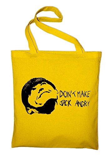 Don't make Jack angry Fun Jutebeutel, Beutel, Stoffbeutel, Baumwolltasche, gelb Gelb