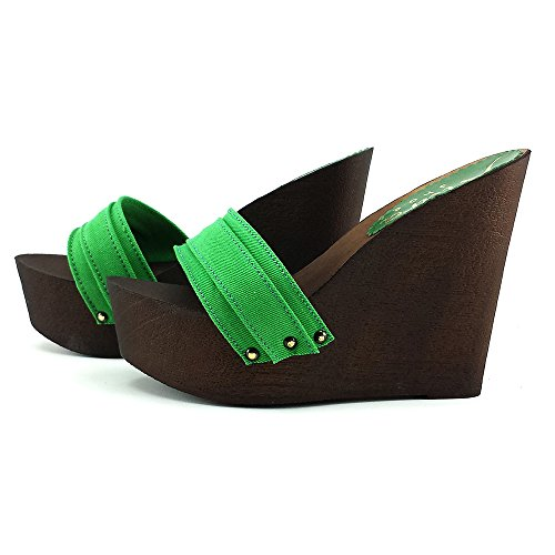 kiara shoes Zoccoli Zeppa Donna Vari Colori -KZ3101 Verde