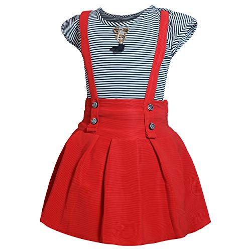 Lorraine Girl's Faux Georgette Top and Skirt (Red and White, 7-8 Years)