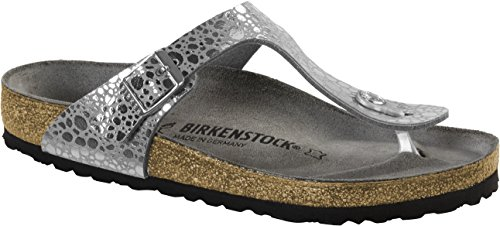 BIRKENSTOCK Gizeh Damen Zehensteg Sandalen Metallic Stones Silver Gray, EU 42