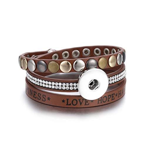 Armreif mit Kette, New Snap Button Jewelry Bracelet 18Mm Leather Snap Bracelet Wrap Multilayer Bohemian Leopard Leather Bracelet Green Green Leopard Snap