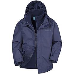 Mountain Warehouse Chaqueta niño niña invierno 3 en 1 Fell Forro Polar desmontable Azul marino 7-8 Años