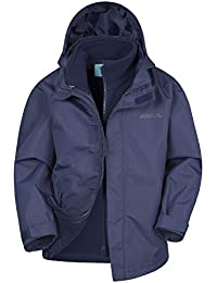 Mountain Warehouse Fell Kids 3 In 1 Jacket - Full Zip Casual Jacket, Water Resistant Rain Coat, Detachable Inner Fleece, Packable Hood All Season Coat - For Travelling