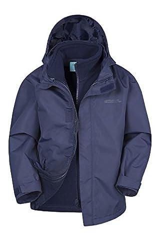 Mountain Warehouse Fell 3-in-1-Kinder wasserdichte Regenjacke mit Kapuze und abnehmbarer Fleecejacke Jungen Mädchen Marineblau