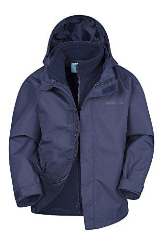 Mountain Warehouse Fell Kids 3 in 1 Jacket - Full Zip Casual Jacket, Water Resistant Rain Coat, Detachable Inner Fleece, Packable Hood All Season Coat - for Travelling