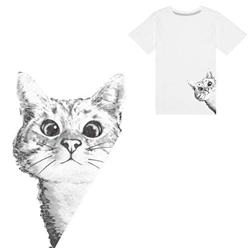 Jiamins 1 Stück Patch Sticker - Süßer Katze DIY Druck Stickerei Applikation Für Decoreting Und Patching Jacket,T-Shirt,Hut,Kleid (15.5cmx24.25cm)