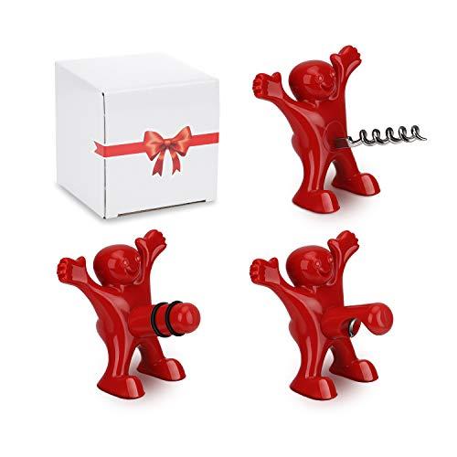 CENXINY Cadeau Homme Femme Tire Bouchon, 3 Pack Décapsuleur de Vin Trois Mignons Hommes Rouges Tire-Bouchons, Vin Bouchon, Bière Ouvre Bouteille- Cadeau Noël Anniversaire