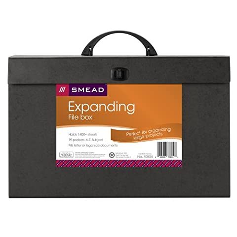 Smead A-Z and Subject Expanding File Box, 19 Pockets, Alphabetic (A-Z) and Subject, Latch Closure, Legal, Black (