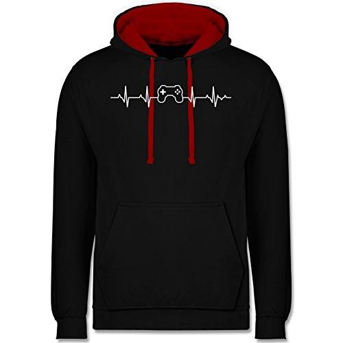 Shirtracer Nerds & Geeks - Herzschlag Gaming Controller - S - Schwarz/Rot - JH003 - Hoodie zweifarbig und Kapuzenpullover für Herren und Damen